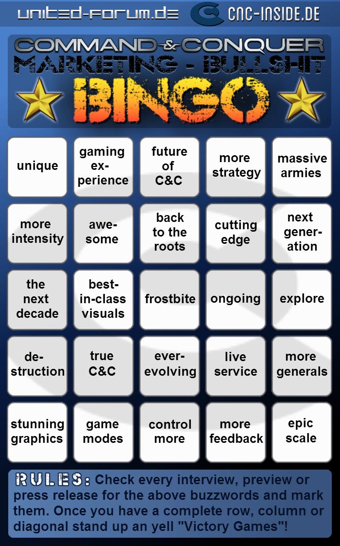 cnc bullshit bingo englisch Command & Conquer Marketing Bullshit Bingo