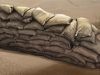 Alliierte Sandsackbarriere Sandsackbarriere