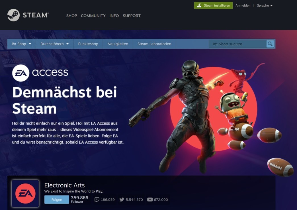 steameaaccess Produktseite aufgetaucht. EA Access Launch bei Steam in Kürze?